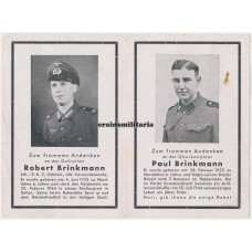 Brothers death card - SS Normandy and Italy