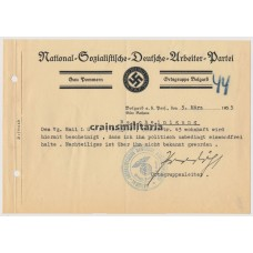 NSDAP Document Ortsgruppe Belgard