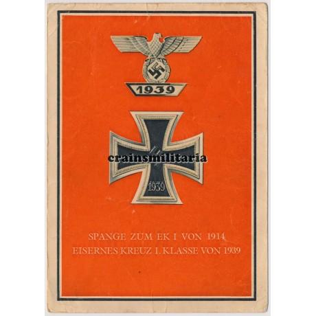 Eisernes Kreuz I. Klasse + Spange postcard