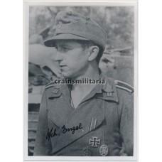 Knight's Cross winner Heinrich Engel - postwar signed photo