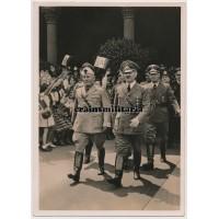 Hoffmann postcard Hitler and Mussolini