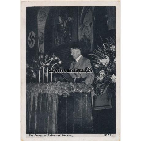 Hitler in Nürnberg postcard
