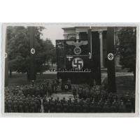 Third Reich banners in military meeting