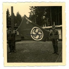 RAD workers with flag