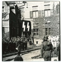 Flemish SS officer with giant flag