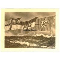 Patriotic drawing with German marine flags