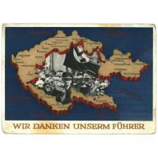Sudetenland annexation postcard - Wir danken unserm Führer