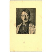 Adolf Hitler painting postcard