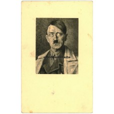 Adolf Hitler painting postcard