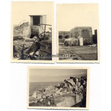 3 Photos destroyed Fort Est near Cherbourg Normandy