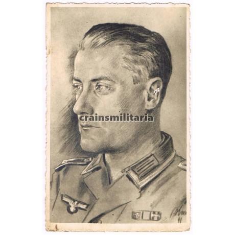 Drawn Unteroffizier portrait signed by SS soldier
