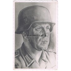 Drawn Unteroffizier portrait signed by SS soldier