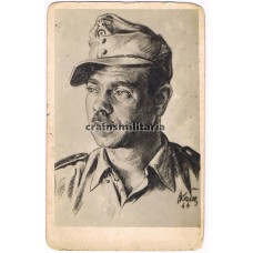 Drawn Jäger portrait signed by SS soldier