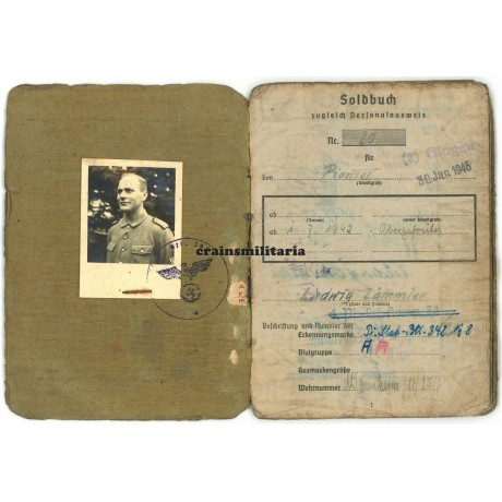 342.ID Soldbuch, anti-partisan, died Halbe pocket