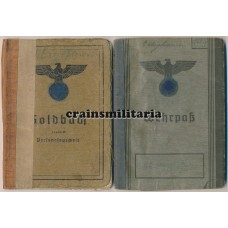 Soldbuch and Wehrpass 90. leichte Division Sardinia, Italy