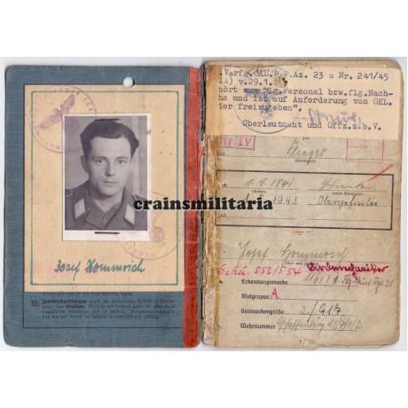 Luftwaffe Bordwart Soldbuch group, Eifel 1944 WIA 89.ID