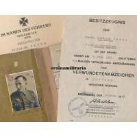 Brandenburg Jäger Soldbuch & award doc grouping