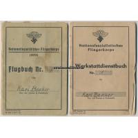 NSFK Flugbuch and Werkstattdienstbuch
