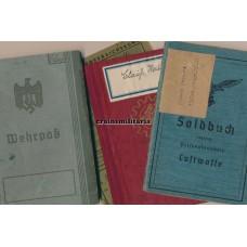 Flugmelde Spiess Soldbuch & Wehrpass
