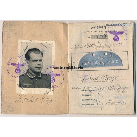 Battle of Berlin Soldbuch, died as POW, with dogtag