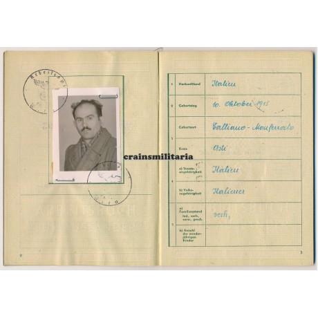 Arbeitsbuch für Ausländer Italian Reichspost employee