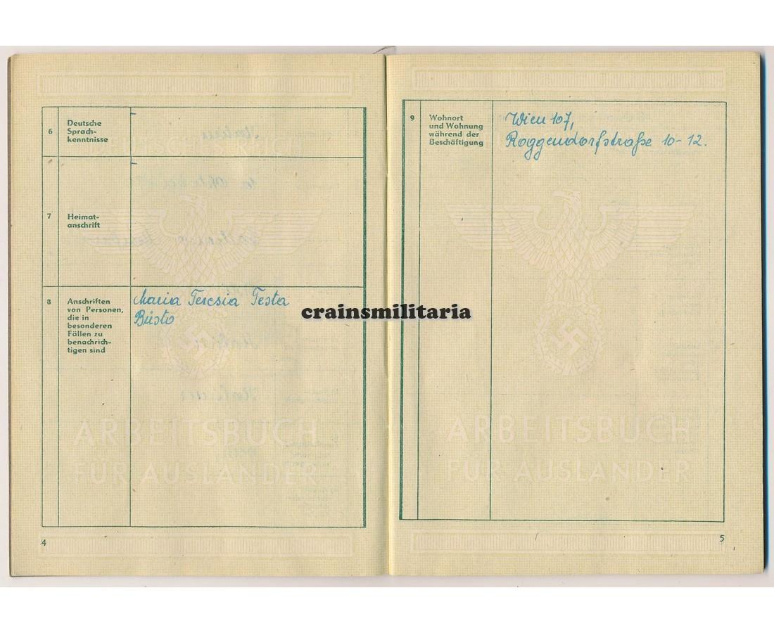 Crains Militaria Arbeitsbuch Für Ausländer Italian Reichspost