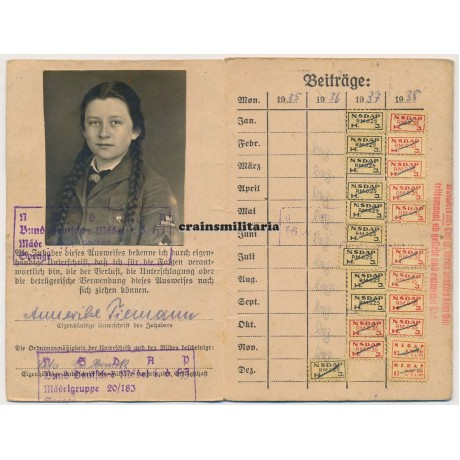 HJ Mitgliedsausweis to Westfalen girl