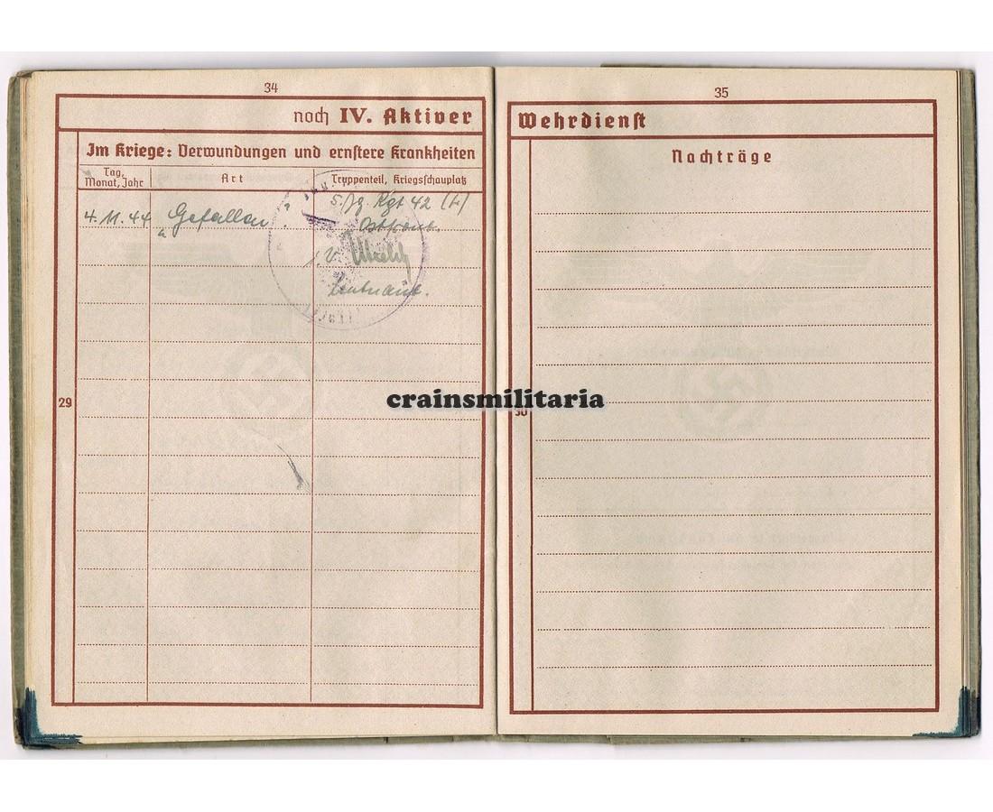 Outlet-Verkauf sale detaillierte Bilder Crain's Militaria - KIA Wehrpass 21.LWFD Kurland 1944