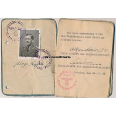 Reichswetterdienst officer Soldbuch - France, Holland, Berlin