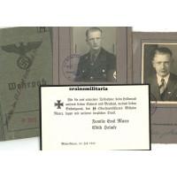 Wehrpass grouping SS Officer, EK1, Leibstandarte, Polizei KIA