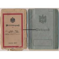 Officer Wehrpass & Militärpass, Ypres 1914 WIA