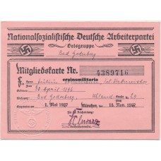 NSDAP Membership card - Bad Godesberg