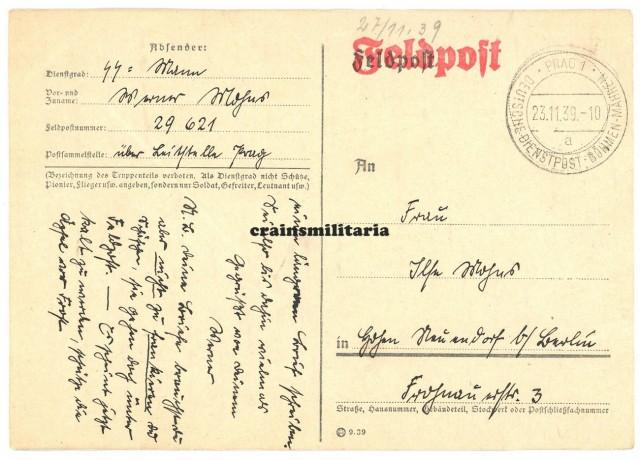 SS Totenkopf Feldpost - Prague 1939