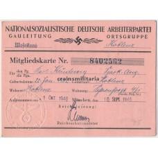 NSDAP Membership card Moselland - Koblenz