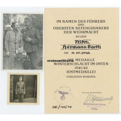 Demjanskschild award document & photo grouping