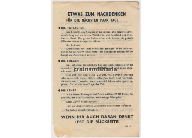 Festung Dünkirchen Allied propaganda leaflet
