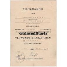 7. Fallschirm-Division Wound badge doc