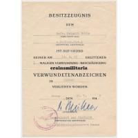 Fallschirmjäger FJR1 wound badge doc Italy 1945