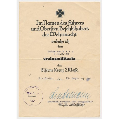 36.ID EK2 Document France 1940