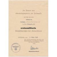 Flak award document and photos, Ostend Belgium