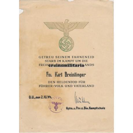Italy 1944 Heldentod document