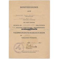 Holland 1944 Verwundetenabzeichen document 719.ID