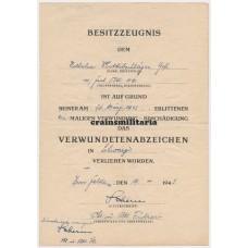 Verwundetenabzeichen document Fest.Btl.1110