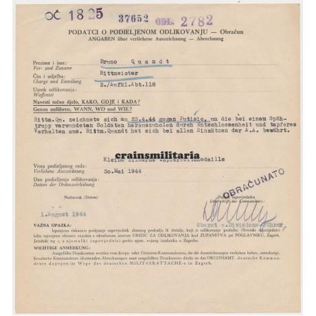 Croatian Tapferkeitsmedaille document 118.JD