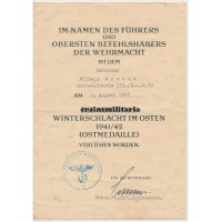Gebirgsjäger G.A.R.79 Ostmedaille document