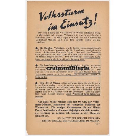 Allied propaganda leaflet - Volkssturm in Einsatz! - Metz 1944