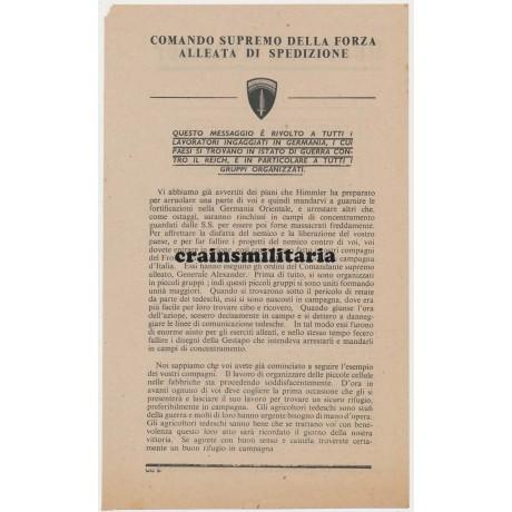 Allied propaganda leaflet for Italian workers