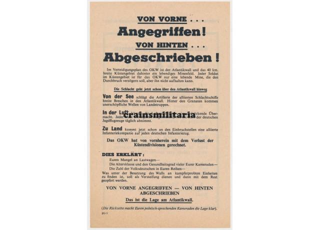 Allied propaganda leaflet - Atlantikwall, Polish soldiers