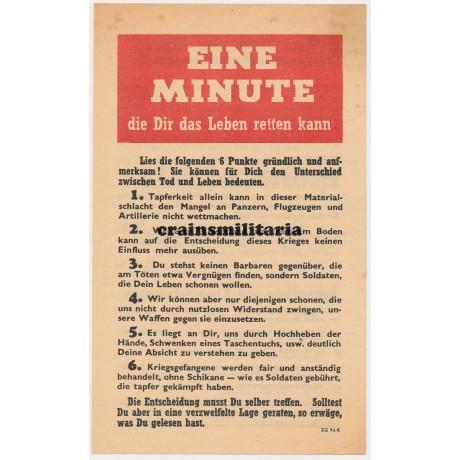 Allied propaganda leaflet - Eine Minute die Dir das Leben retten kann