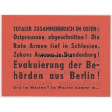 Allied propaganda leaflet - Evacuation of Berlin